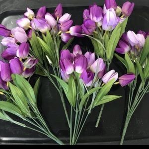 Silk tulip flowers lot of 10 bunches